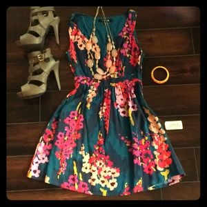 Forever 21 Turquoise floral dress.
